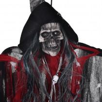 Cadılar Bayramı Dekorasyon Kırmızı Sesli Işıklı Kuru Kafa