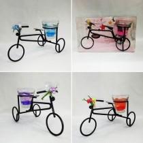 4 Adet Bisiklet Üzerinde Ferforje Dekoratif Mum