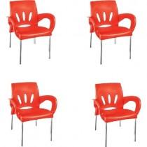 4 Adet Verona Aluminyum Ayaklı Sandalye Bahçe Plastik Sandalye