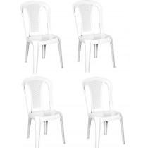 4 Adet Plastik Bahçe Sandalye Kolsuz Piknik Balkon Sandalyesi