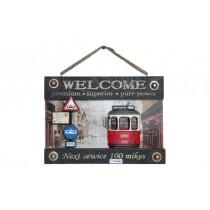 Dekoratif Metal Kapı Yazısı Tramvay Dekorlu