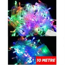 Karışık Renkli 100 Ampullü Pirinç Yılbaşı Işığı 10 Metre