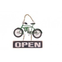 Dekoratif Metal Kapı Yazısı Bisiklet Open Yazı Açık Kapı Yazısı