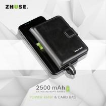 Zhuse 2500 mah deri cüzdan powerbank taşınabilir şarj cihazı