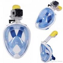 Full Face Mavi Şnorkel Dalış Şnorkel Tıkaç Hediyeli