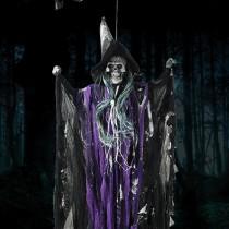 Cadılar Bayramı Dekorasyon Mor Sesli Işıklı Kuru Kafa