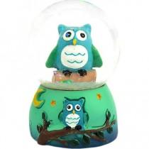 Dekoratif Mini Baykuş Simli Su Küresi Mini Boy