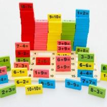 Ahşap 110 parça Matematik Domino Eğitici Geliştirici Oyuncak