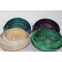 3 LÜ Ekmek Sepeti Hasır Renkli Sepet Mutfak Sepeti