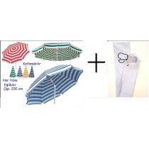2 MT Eğilebilir Plaj Şemsiyesi ve Şemsiye Kılıfı