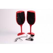 Şarap Kadehi Tasarımlı Şarap Servis Seti Tirbuşon Servis Seti