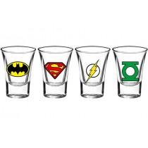 DC Comics 4'lü Shot Bardak Batman Süperman Flash Shot Bardak