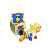 Aktiviteli Ahşap Oyuncak Ahşap 5li Kule Wisdom Shape Set Box