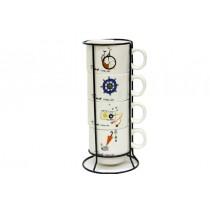 Metal Standlı Fincan Seti 4 lü Çay Kahve Fincanı