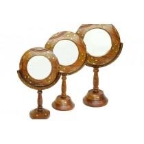Ahşap Ayna Stand'lı 3'lü Set Ayaklı Masa Üstü Ayna Makyaj Aynası