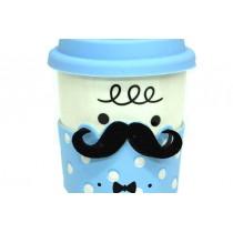Mavi Bıyıklı Seramik Kupa Bardak Kahve Fincan