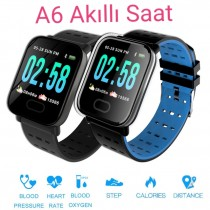 A6 Smart Watch Akıllı Saat Suya Dayanıklı Nabız Ölçer Siyah