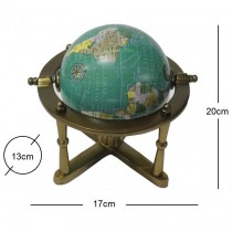 20cm Metal Kaideli Masa Üstü Dünya Küre Döner Küre