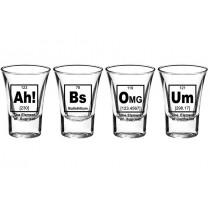 Elements 4'lü Shot Bardak Fizik Kimya Shot Bardak