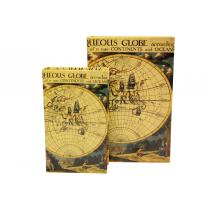 Kutu Kitap Harita 2'li Set Atlas Harita Kitap Kutusu Kitap Raf