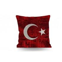 43x43 Türk Bayrağı Kırlent Yastık Ayyıldız Yastık
