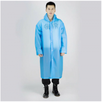 Mavi Erkek Kadın Yağmurluk Kapşonlu Su Geçirmez Yağmurluk