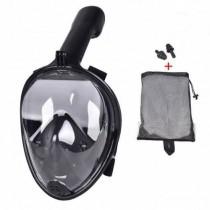 Full Face Siyah Şnorkel  Dalış Şnorkel Tıkaç Hediye