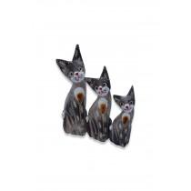 50 Cm 3 Lü Ahşap Kedi Biblo Kedi Süs Ahşap Havyan Figürü