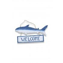 Ahşap Köpek Balığı Hoş geldiniz Kapı Süsü Welcome Kapı Yazısı