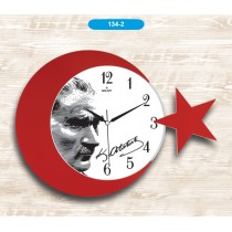 42 Cm Ay Yıldız Atatürk Duvar Saati Dekoratif Duvar Saati