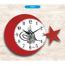 42 Cm Ay Yıldız Duvar Saati Osmanlı Tuğrası  Duvar Saati