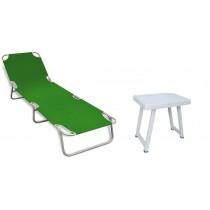 Şezlong Kampet Plaj Yatağı + Katlanır Masa Kamp Masası