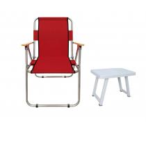 Kamp Sandalyesi + Katlanır Masa Ahşap Kol Katlanır Sandalye -Kırmızı