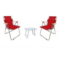 2 Li Katlanır Kamp Sandalyesi + Katlanır Masa - Kırmızı