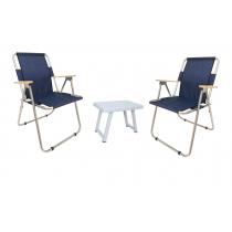 2 Li Katlanır Kamp Sandalyesi + Katlanır Masa - Lacivert