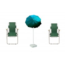 2 Adet Katlanır Kamp Sandalyesi +  2 Mt Gabardin Şemsiye Yeşil