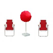 2 Adet Katlanır Kamp Sandalyesi +  2 Mt Gabardin Şemsiye Kırmızı