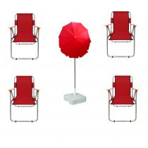 4 Adet Katlanır Sandalye + 2 Mt Gabardin Plaj Şemsiyesi Kırmızı