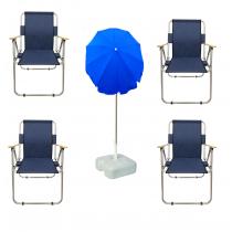 4 Adet Katlanır Sandalye + 2 Mt Gabardin Plaj Şemsiyesi LACİVERT