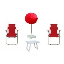 2 Ad Katlanır Sandalye + 2 Mt Plaj Şemsiye + Masa KIRMIZI