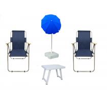 2 Ad Katlanır Sandalye + 2 Mt Plaj Şemsiye + Masa LACİVERT