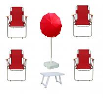 4 Adet Katlanır Sandalye + 2 Mt Gabardin Plaj Şemsiyesi + Masa Kırmızı