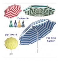 2 Mt Eğilebilir Gabardin Kumaş Plaj Şemsiyesi BİDON DAHİL