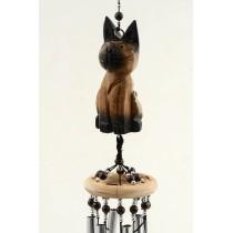 Ahşap Kedili Boncuklu Rüzgar Çanı  60 cm Kapı Süsü